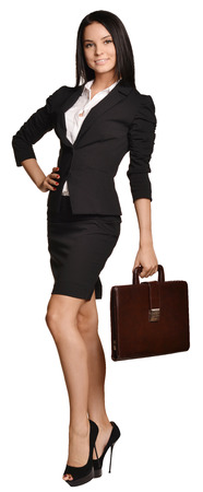Business woman holding in his hand leather briefcase