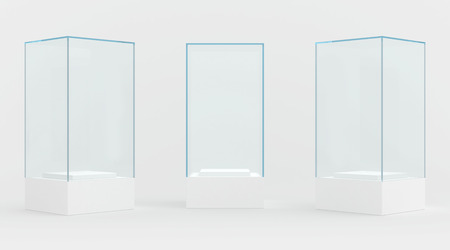 showcase: 3d Empty glass showcase for exhibit. gray background