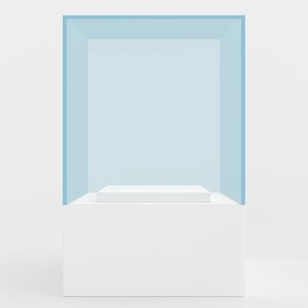 exhibit: 3d Empty glass showcase for exhibit. gray background