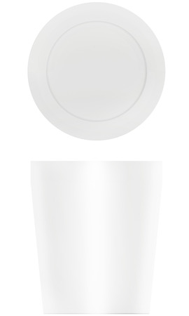 polystyrene: Template coffee cup with cap isolated on white background.