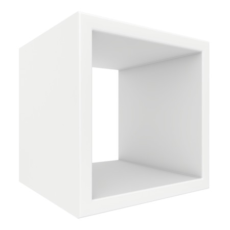 white shelf: rotated white shelf. 3d render on white background.