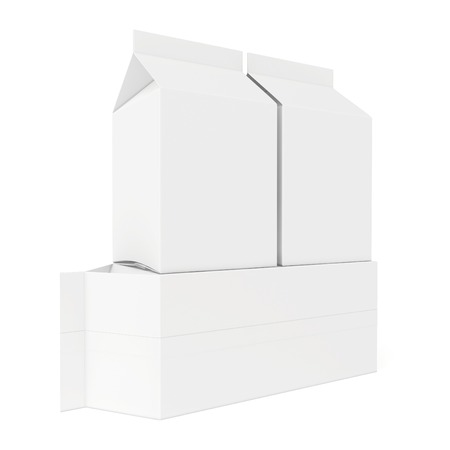 White cardboard package for dairy products. 3d render on white .
