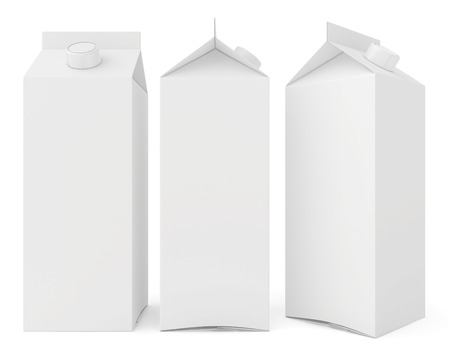 Milk cartons isolated on white background. 3d render. photo