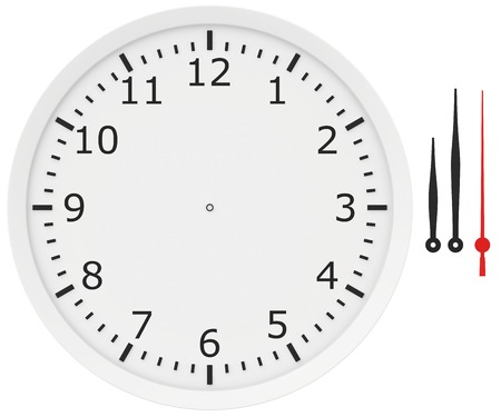 timeless: template clock with arrows and numbers isolated on a white background.