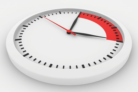 timeless: clock with marked border red time. 3d rendering Stock Photo