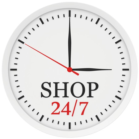 clock without numbers marked shop is open 24 hours a week.