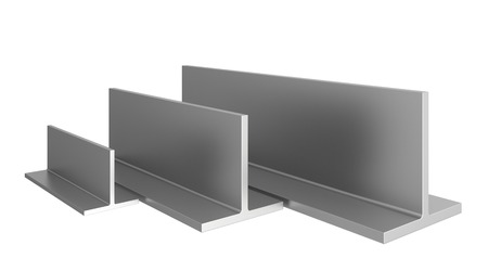 steel factory: stainless steel profiles on a white background. 3d illustration.