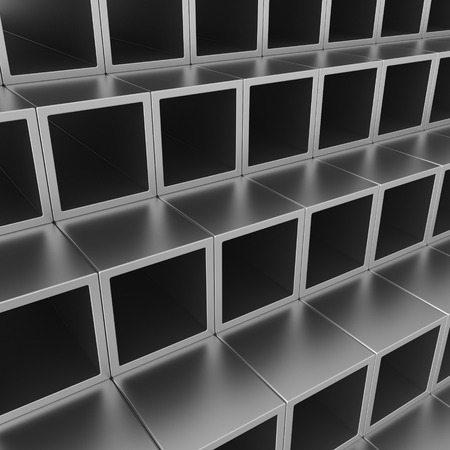 Stack of steel pipes profiles. 3d rendering illustration. Stock Photo