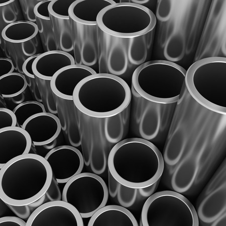 steel pipes: Stack of steel pipes. 3d rendering illustration.