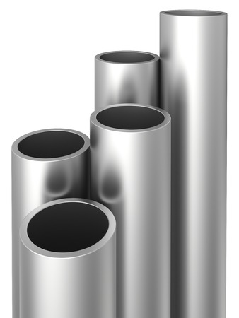 Steel Pipes on a white background. 3d illustration.