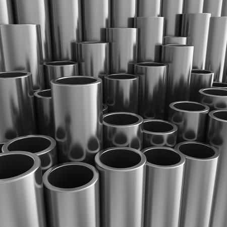 steel industry: Stack of steel pipes. 3d rendering illustration.