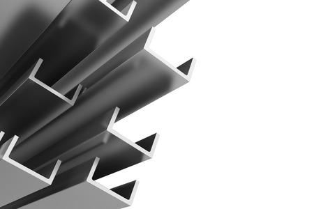白い背景にステンレス鋼プロファイル。3 d イラスト。