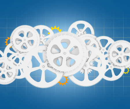 set of gears on abstract background and gri. Stock Photo