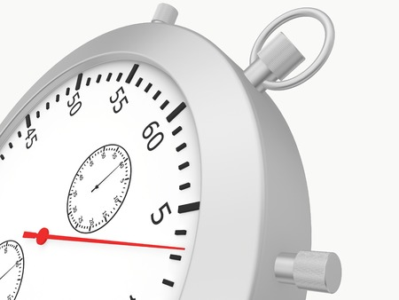 metering: Close stopwatch isolated on white background. 3d render