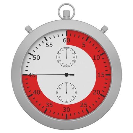 cronometro: cron�metro con el bot�n y la gama de color rojo aisladas sobre fondo blanco. Foto de archivo