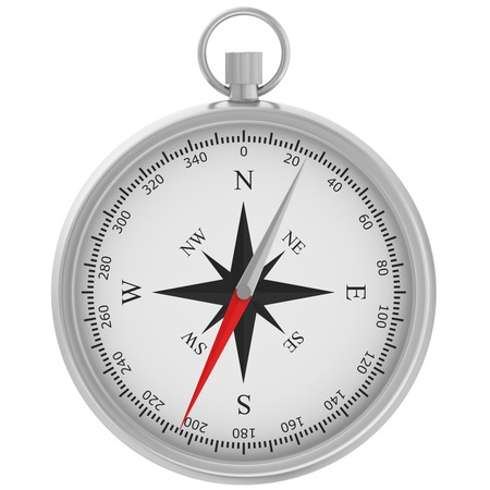 Compass with windrose isolated on white background. Banque d'images