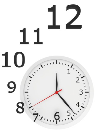 timeless: abstract clock with arrows and numbers. 3d rendering