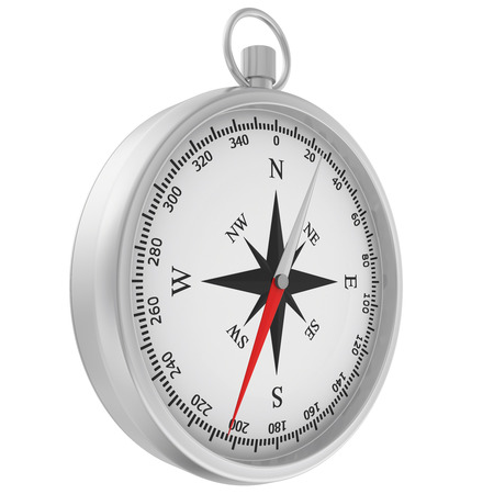 windrose: Compass with windrose isolated on white background. Stock Photo