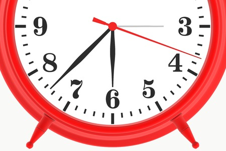 red blank botton alarm clock isolated on white background. 3d render photo