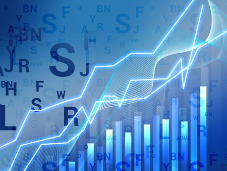 world market: Abstract infographics with a profit chart on the world market Stock Photo