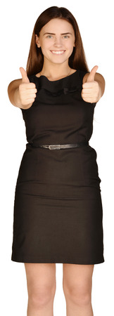 Business woman in a suit and skirt showing thumb up