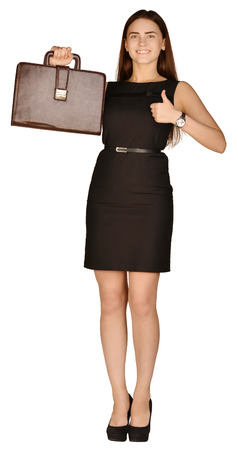 business woman holding a portfolio showing thumbs up.