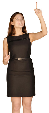 forefinger: Business woman shows forefinger up. white background