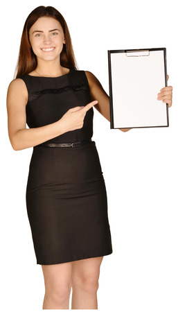 Business woman showing forefinger on clipboard. white background Stock Photo