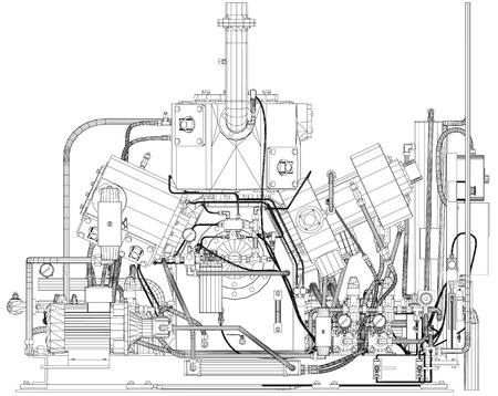 heavy industry: Wire-frame industrial equipment engine.