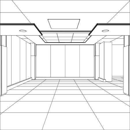 perspective grid: Outline office room. EPS 10 vector format.