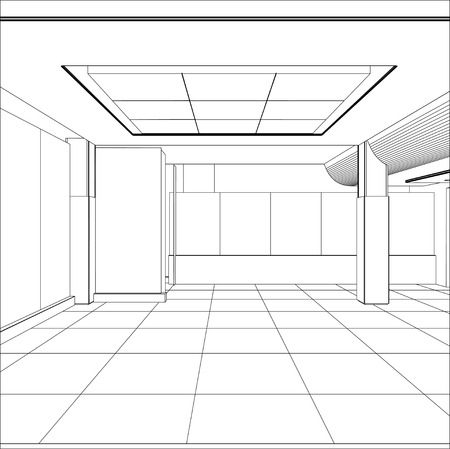 wireframe: Wire-frame office room.