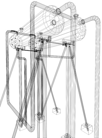 Wire-frame Oil and Gas industrial equipment. Tracing illustration of 3d. EPS 10 vector format. Illustration