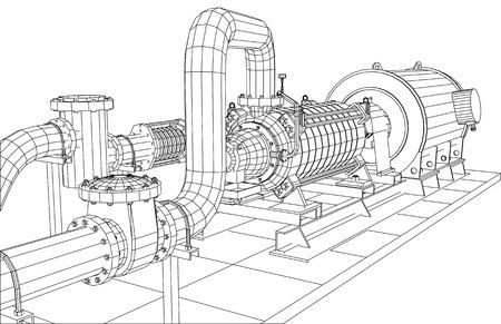 Alambre-marco aceite de equipos industriales y de bomba de gas. Rastreo de ilustración de 3d. 10 EPS formato vectorial. Foto de archivo - 37886004