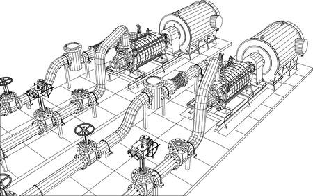 fontaneria: Alambre-marco aceite de equipos industriales y de bomba de gas. Rastreo de ilustración de 3d. 10 EPS formato vectorial. Vectores