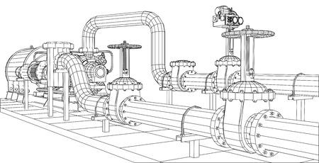 equipo: Alambre-marco aceite de equipos industriales y de bomba de gas. Rastreo de ilustración de 3d. 10 EPS formato vectorial. Vectores