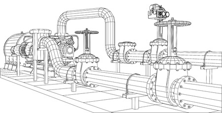 Wire-frame  industrial equipment oil and gas pump. Tracing illustration of 3d. EPS 10 vector format. Çizim