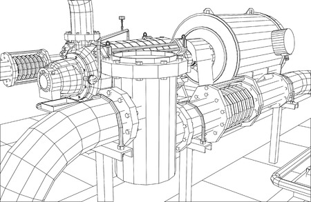 condensate: Wire-frame  industrial equipment oil filter. Tracing illustration of 3d. EPS 10 vector format.
