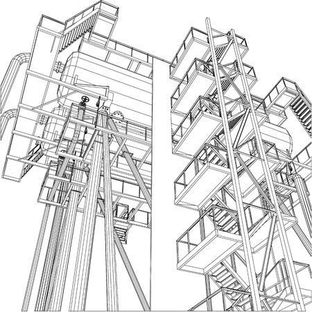 Wire-frame Oil And Gas Industrial Equipment. Tracing Illustration ...