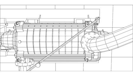 Wire-frame  industrial equipment oil and gas pump. Tracing illustration of 3d. EPS 10 vector format. Illustration