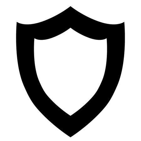 vector black shield icon on white background.  Illustration