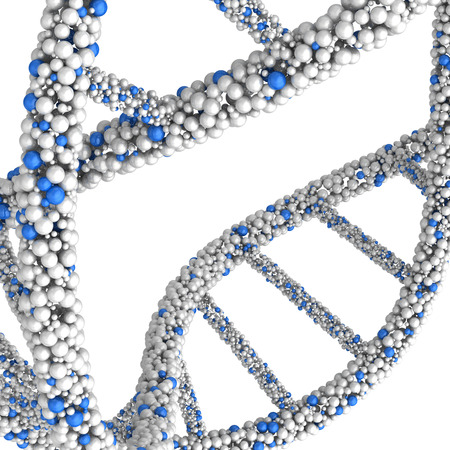approximate: Approximate close-up of the DNA molecule isolated on white background.