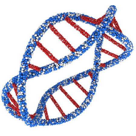 guanine: Twisted DNA molecule in the ring isolated on white background. Stock Photo