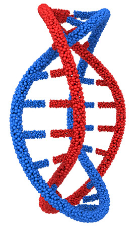DNA molecule in a circle close-up on white background. Stock Photo