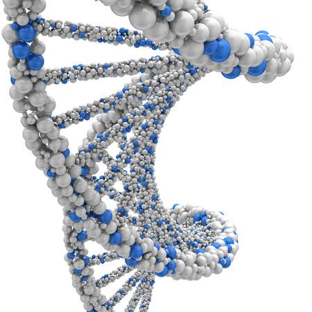 Stranded DNA molecule. 3d render on a white background.
