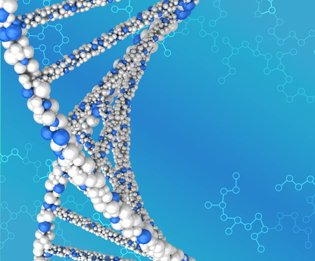 guanine: Spiral structure DNA on abstract blue background. Stock Photo