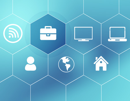 enclosed: Background of the icons enclosed in hexagons. Stock Photo