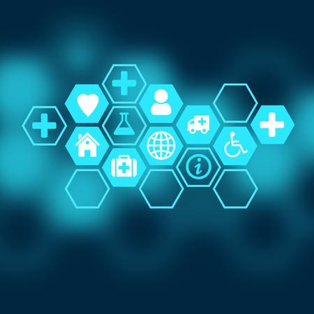 s�mbolo de la medicina: Fondo m�dico de los iconos encerrados en hex�gonos.