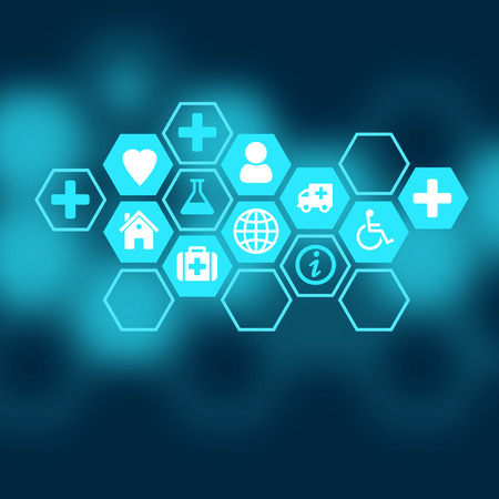 health science: Medical background of the icons enclosed in hexagons.