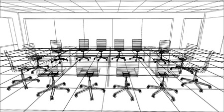 meeting room: Interior office meeting room. Tracing illustration of 3d.  Illustration