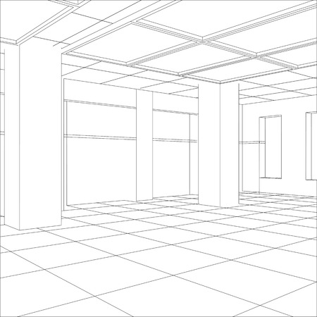 Interior office outlined. Tracing illustration of 3d. EPS 10 vector format.